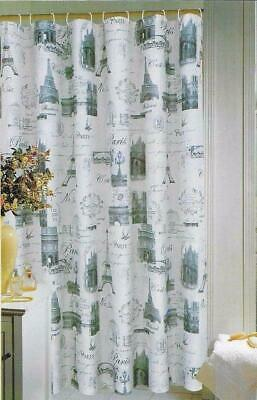 Popular Bath Paris Eiffel Tower Shower Curtain Stamps 70 X 72 New