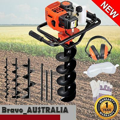 88cc Petrol Post Hole Digger Earth Auger Drill Kit Set Max Depth 3m