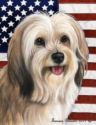 Garden Indoor/Outdoor Patriotic II Flag - Fawn & White Tibetan Terrier 324791