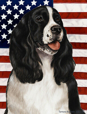 Garden Indoor/Outdoor Patriotic II Flag - Bl/Wh English Springer Spaniel 320801