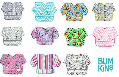 Hippychick Bumkins Long Sleeve Bib Easy Wipe Waterproof Machine Washable 6-24mth