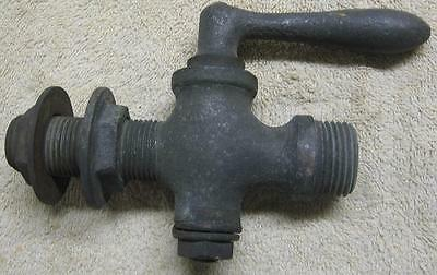 Vtg Heavy Brass Bulkhead Spigot Faucet Valve w Brass Handle - Steampunk Upcycle