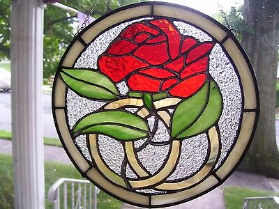 Stained Glass Wedding Anniversary Rose Sun catcher (Real Glass)