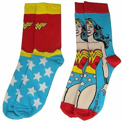 Official DC Comics Retro Wonder Woman Assorted Character Logo Socks Set x2 Pairs