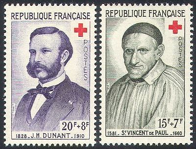 France 1958 Red Cross/St Vincent/Henri Dunant/Medical/Health 2v set (n20395)
