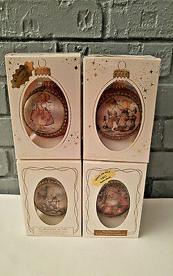 M.J. HUMMEL Christmas Ornaments Lot of 4 Pre-owned Round Decorated Ornaments