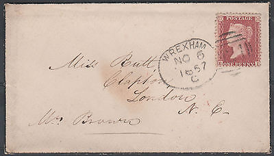 1857 SG40 C10 1d ROSE RED RARE WELSH WREXHAM SPOON ON COVER (EI)
