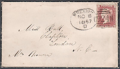 1857 SG40 C10 1d ROSE RED RARE WELSH WREXHAM SPOON ON COVER (EH)