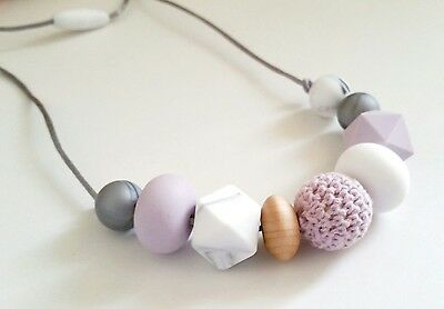 Silicone teething bead necklace LIVIA baby shower gift sensory jewellery lilac