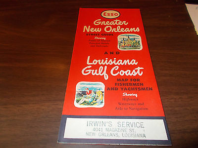 1956/57 Esso New Orleans / Lousiana Gulf Coast Vintage Road Map