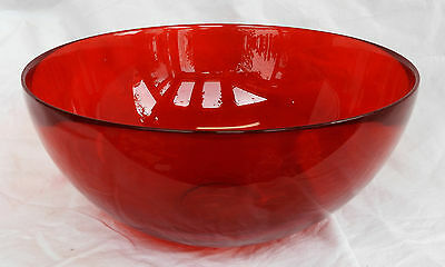 Vintage Red Ruby Glass Bowl - Fruit Bowl - Art Glass Bowl