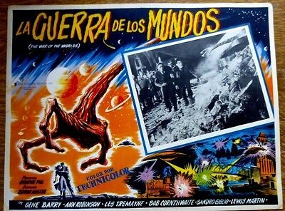 WAR OF THE WORLDS 1953 Mexican Horror Sci Fi Lobby Card ALIEN REACHES OUT OF UF0