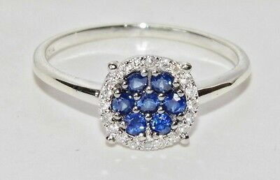 9ct White Gold Blue Sapphire & Diamond Cluster Ring - size K