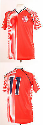Denmark 1986 World Cup Red Retro Laudrup 11 Football Shirt Medium