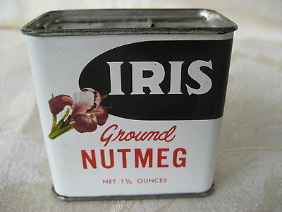 Great Vintage Iris Nutmeg Spice Tin 1 1/2 oz