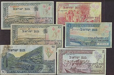 israel bank 1955 1st series lot of 6 notes poor condition lot - 2285