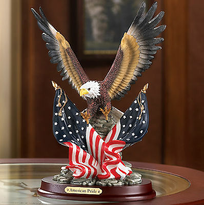 EAGLES: Patriotic American Pride Bald Eagle Statue on Wood Base NEW