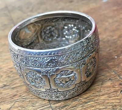Indian Silver Serviette Or Napkin Ring Intricate Engraved Embossed Decoration