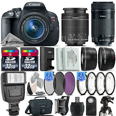 Canon EOS Rebel T5i / 700D DSLR Camera + 18-55mm IS STM + 55-250mm STM -64GB Kit