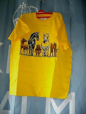 Gorgeous Yellow T-Shirt with Horses Front & Rear – 7-8yrs- BNWOT