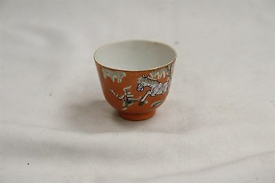 Old Chinese Porcelain 3 Horses Tree Leaves Orange Teacup Signed