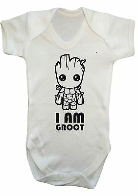 BABY BOY,GIRL I AM GROOT,Guardians VEST,BABYGROW,ROMPER,GIFT,BABY CLOTHES.comic