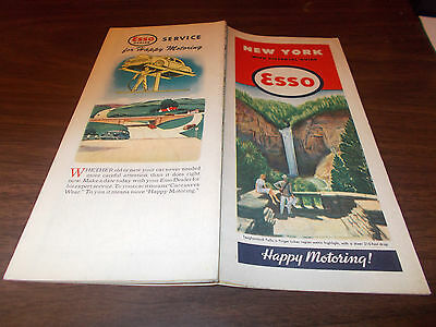 1946 Esso New York Vintage Road Map / Great Cover Art - Taughannock Falls
