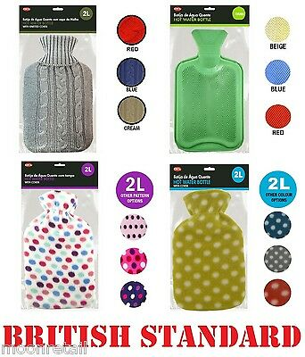 2 Liter Litre HOT WATER BOTTLE WITH COVER Hotwater Warmer Large Cosy Warm Gift
