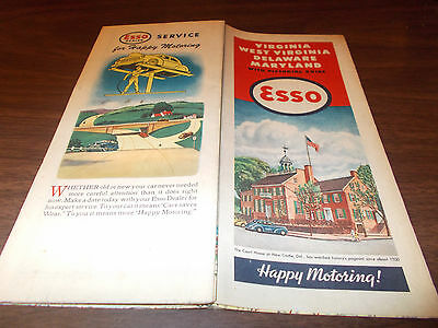 1946 Esso Delaware/Maryland/Virginia/W Virg. Vintage Road Map / Great Cover Art