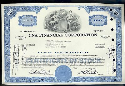 CNA Financial Corporation 100 Shares Stock Certificate 1968