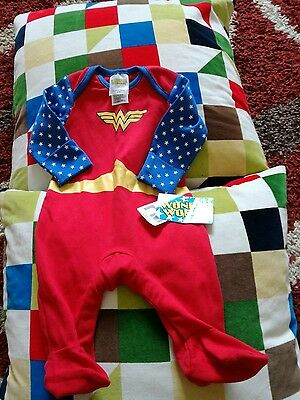 New Baby Girl Mothercare Wonder Woman 0-3 Months Sleepsuit Novelty Baby Gift