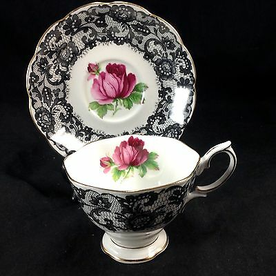 Royal Albert Senorita Cup & Saucer Teacup Set Vintage Porcelain Black Lace Rose