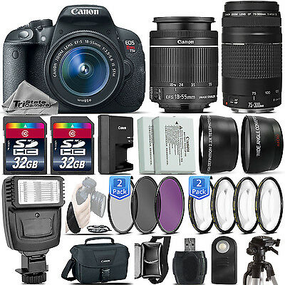 Canon EOS Rebel T5i / 700D DSLR Camera + 18-55mm IS STM + 75-300 III -64GB Kit