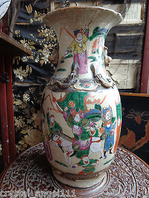 LARGE ANTIQUE 19thc CHINESE DAO GUANG FAMILLE VERTE  TALL FLOOR VASE