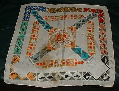 East German Army DDR Table Banner Flag Signed by Soldiers 1960-70s Communist