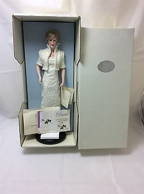 Diana Princess of Wales Franklin Mint Porcelain Portrait Doll Figure Boxed