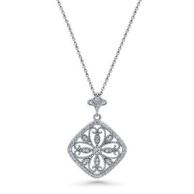 BERRICLE Sterling Silver CZ Flower Art Deco Filigree Fashion Pendant Necklace