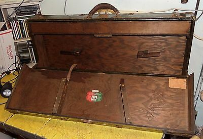 "F.W.Boelter Chicago Ill. Steel Covered Wooden Tool Box Chest 32"" long"