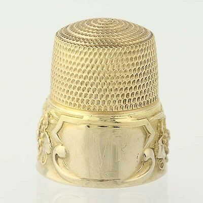 Simons Brothers Thimble - 14k Yellow Gold Grape Vine Border Size 12