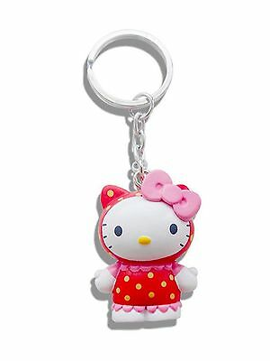 Genuine Sanrio Hello Kitty 'Raspberry' Scented 3D Keyring Fob Key Ring Gift