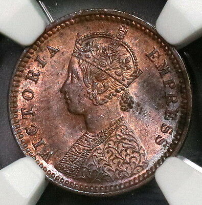 1888 NGC MS 63 DEWAS 1/12 Anna Senior Branch Victoria India Coin (17031601C)