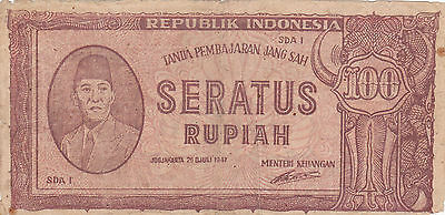 100 Rupiah Vg Guerilla Note From Indonesia 1947!pick-29!revolutionary Issue!