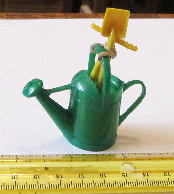 Old Stock Vintage Green Hard Plastic Ginny Vogue Style Watering Can Yellow Tools