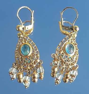 Beautiful Solid 9ct Gold & Blue Topaz Filigree Drop Earrings Wedding, Holiday