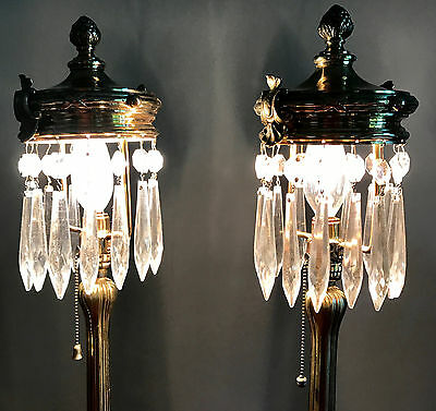 Pair Matching Vintage Brass Art Nouveau Mantle-Boudoir Lamps With Prisms