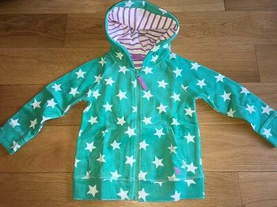 BNWT Mini Boden Girls Green Star Towelling Hoody 2-3