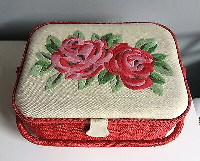 Cath Kidston Large Embroidered Red Rose Woven Sewing/crafting  Basket Box  Bnwt