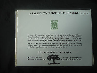 USA 1975 Salute To European Philately Souvenir Card (Event Cover)