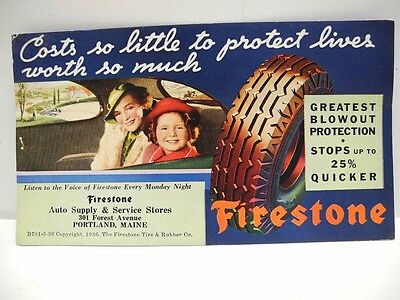1936 Firestone Tires Ink Blotter Auto Supply & Service Stores Portland, Maine