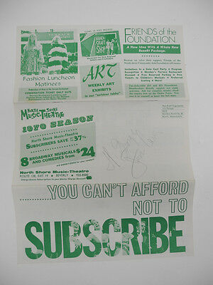 1970 Autographed Brochure Jess Cain & M. Strong at North Shore Music Theatre